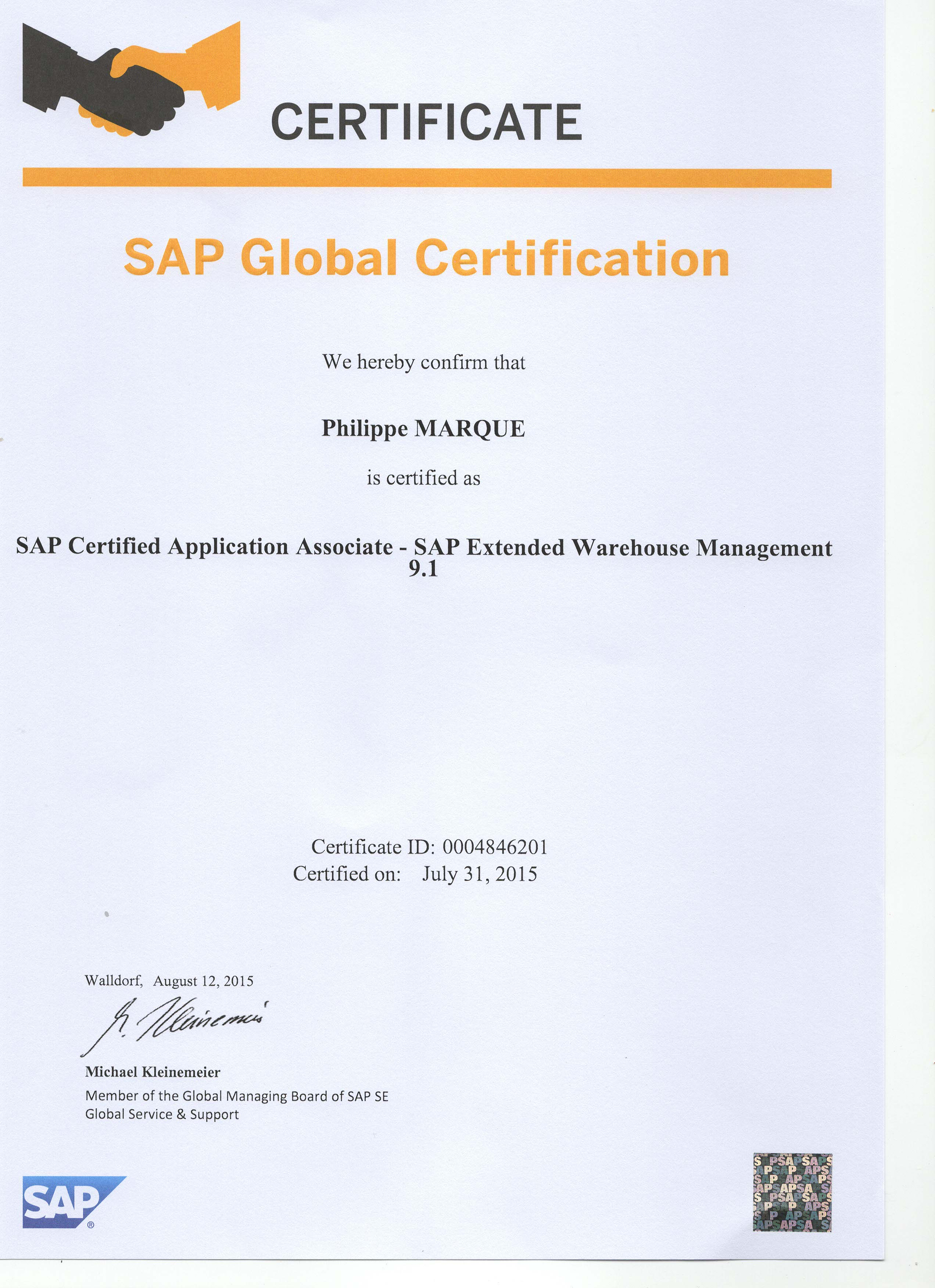 SAP WM, EWM, HUM Consultant - Certified SAP Professionnel WM/LE, MM