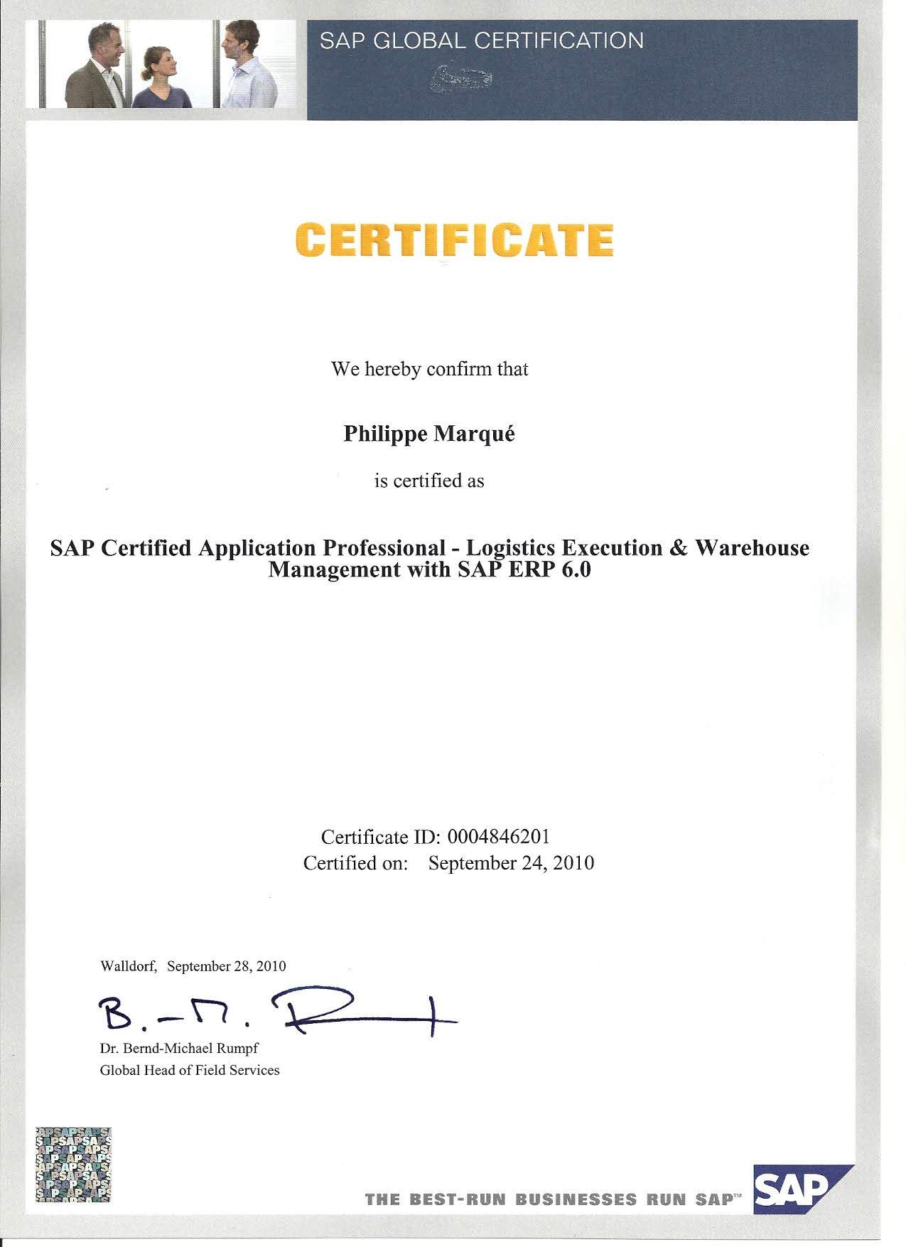 SAP WM, EWM, HUM Consultant - Certified SAP Professionnel WM